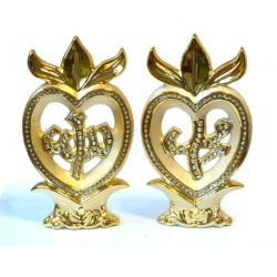 Set of 2 golden decorative pieces with Allah and Mohammed inscription decorated with...