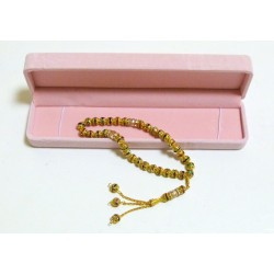 Luxury metal rosary (sebha) 33 gold beads for women with pink case
