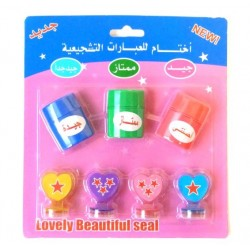 Motivational and Reward Stamp Pack to Encourage Kids (7 Stamps and 1 Inkpad) - For Girls