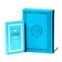 Pack Cadeau Bleu Turquoise : Le Saint Coran version arabe (Lecture Hafs) + La Citadelle...
