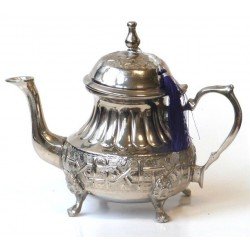 Moroccan teapot of large size nickel plated silver nicely chiseled and decorated with...