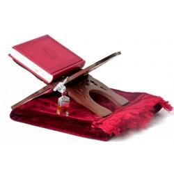 Pack Cadeau Rouge Bordeaux : Le Saint Coran version arabe, Tapis en velours et Porte...