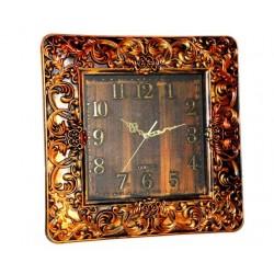 Large square clock brown wood color