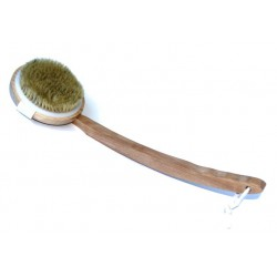 Large detachable brush for hammam and bath with long wooden handle