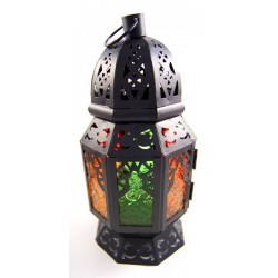 Large metallic lantern from One Thousand and One Nights in black color with colored...