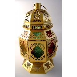 Large decorative golden lantern with multicolored panes