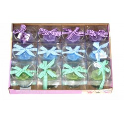 Pack of 12 scented candles in the form of a colored flower with decorative ribbon