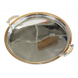 Large round stainless steel tray with golden decorations