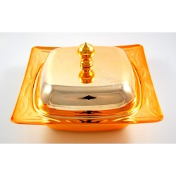Sugar bowl, golden candy box (Metal container with lid)