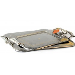 Set of two assorted rectangular stainless steel trays