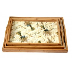 Set of 3 wooden trays with decorations (assorted in different size)
