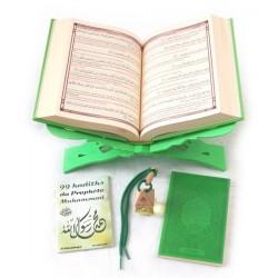 Pack Cadeau vert : Coran de luxe français/arabe/phonétique, La Citadelle du musulman,...