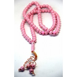 """Rosary """"Sebha"""" 99 beads pink with silver decorations"""