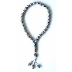 "Luxury golden ""Sebha"" rosary with sky blue patterns (33 beads)"