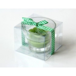 Scented candle in the form of a flower in green color with decorative ribbon