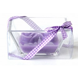 Double scented candle in its box with a purple gift ribbon