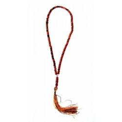 Sabha (Rosary) 99 dark orange pearls and black patterns