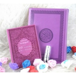 Pack Cadeau Couleur Mauve (Coran arabe - Les 40 hadiths an-Nawawî bilingue - Parfum...