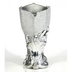 Incense burner: Silver ceramic censer with glitter patterns