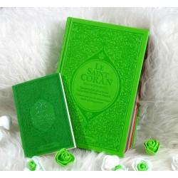 Pack Cadeau Vert clair : Le Saint Coran Rainbow et La citadelle du musulman...
