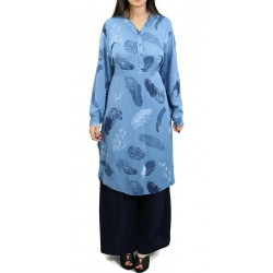 Buttoned tunic with belt - Blue color with patterns