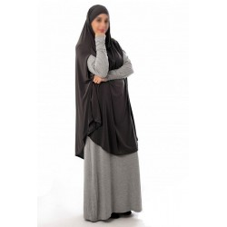 Large cape - Long prayer hijab for women with slits - Dark gray color