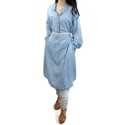 Loose buttoned denim tunic with pockets