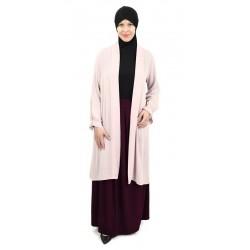 Light pink pleated sleeves chiffon cardigan
