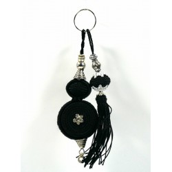 Handcrafted keyring with sabra pompom - Black