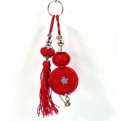 Handcrafted keyring with sabra pompom - Red