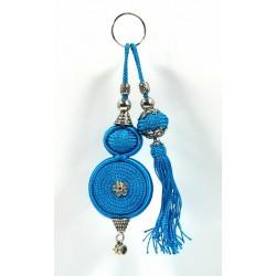 Handcrafted keyring with sabra pompom - Blue