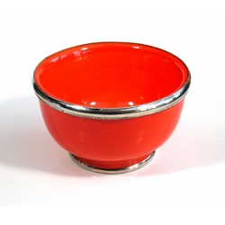 Large Moroccan pottery bowl, enamelled orange and surrounded by silver metal