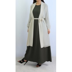 Beige pleated sleeves muslin cardigan