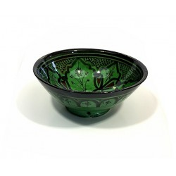 Salad bowl / Medium deep dish in painted pottery and decorated in green color