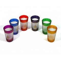 Colorful Moroccan tea glasses adorned with traditional golden patterns (Pack of 6 glasses)