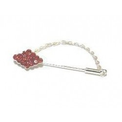ةpingle broche argentée pour Hijab diamants en forme de losange de couleur rouge