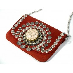 Burgundy suede leather handbag Ornament with stones cast in a block of resin