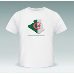 "Customizable T-Shirt ""Algeria"" (the Algerian flag within the Algerian borders)"