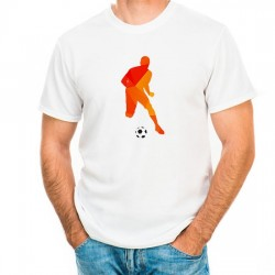 Customizable T-Shirt: Dribbling Soccer Player (Orange)