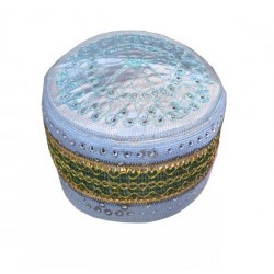 Sky blue rigid chachia with pretty gold and green decorations