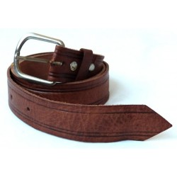 Traditional leather belt for men in brown color