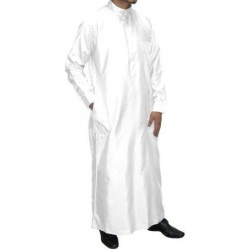 Qamis man white long sleeves with collar and 3 pockets