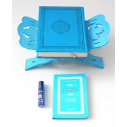 Pack Cadeau bleu clair : Coran de luxe arabe, La Citadelle du musulman, Porte-Coran et...