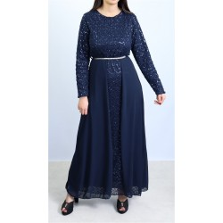 Long flared sequined dress with midnight blue lining and belt
