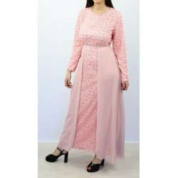 Long flared sequined dress with lining and belt in light pink color