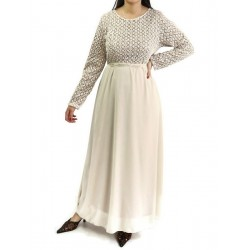 Long flared sequined dress with beige lining and belt