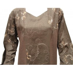 Sara long-sleeved linen dress with embroidery and sequins (several colors available)