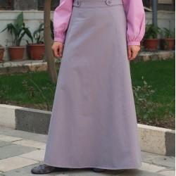 Buttoned Waist A-Line Skirt - A-Line Skirt with Buttoned Waist [wT0051]