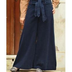 Extra large double belt pants - Corduroy Double Belted Flared Pants [wP1303]