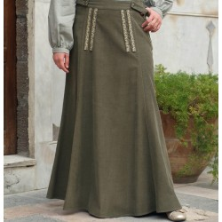 Corduroy Flared Skirt with Embroidery - Flared Corduroy Skirt with Embroidery [wT0021]